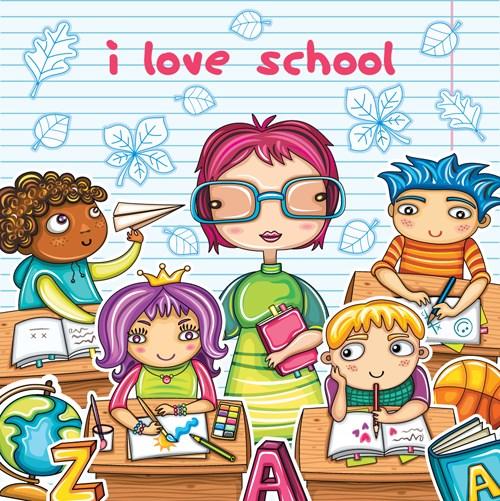 Cartoons School elements vector set 02