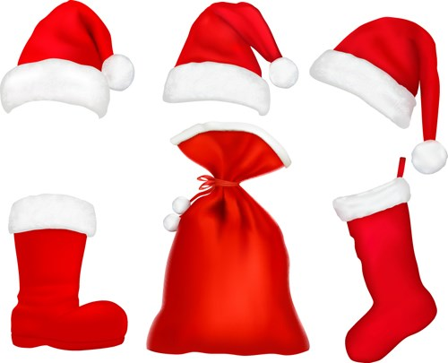 Different Christmas hat design elements vector set 08