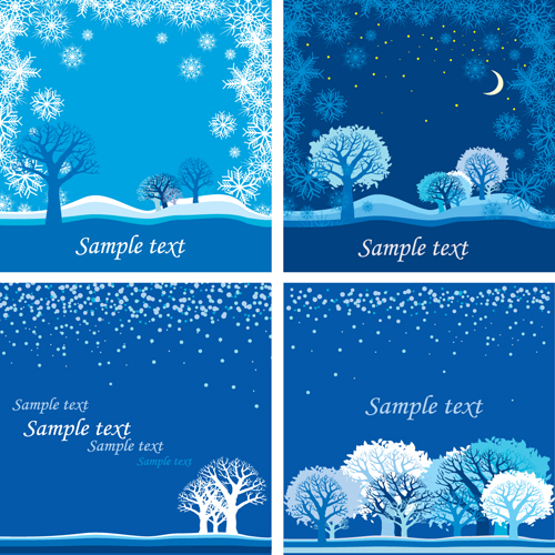 Bright Winter Snow backgrounds art vector 01