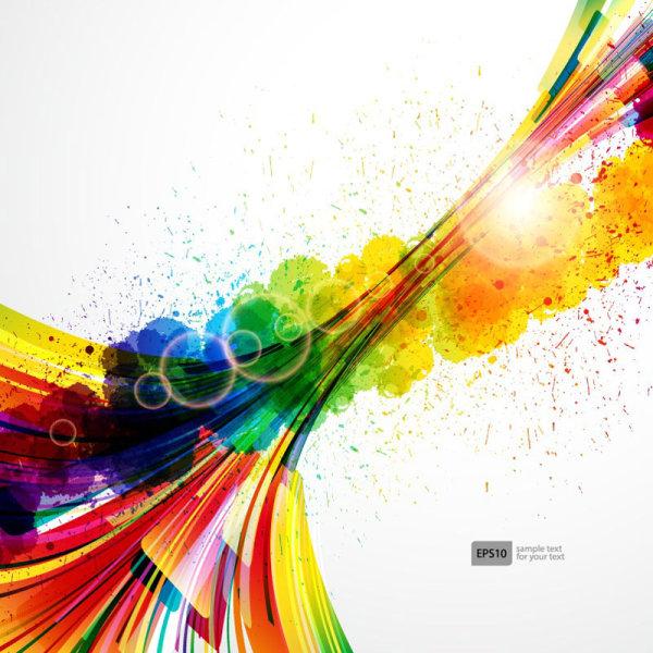 Colorful Object splash backgrounds vector 04