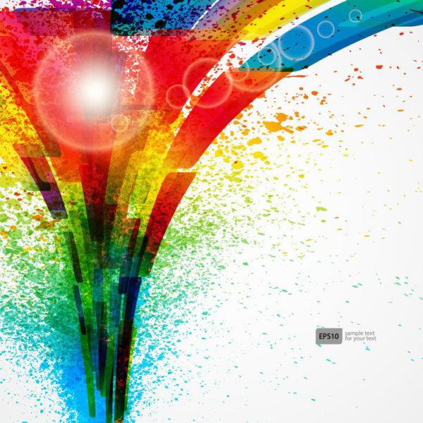 Colorful Object splash backgrounds vector 05