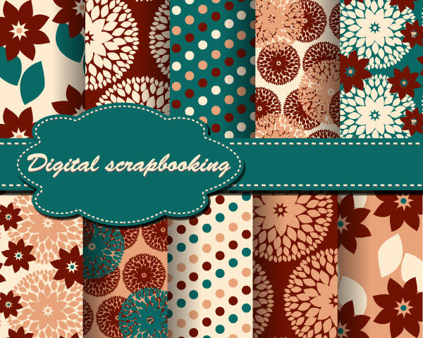 Set of Floral Fabric background vector 05