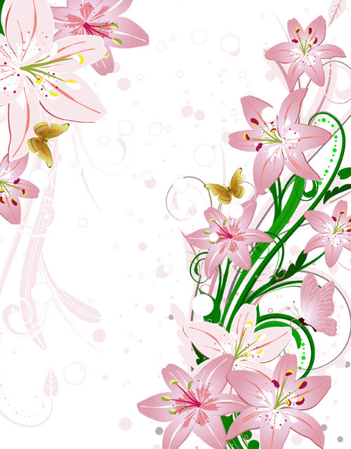 Set of with Flowers elements background vector 01