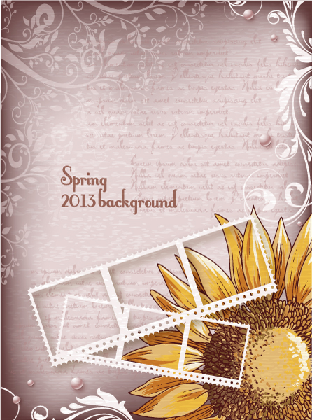 Vintage Spring floral background 06 vector