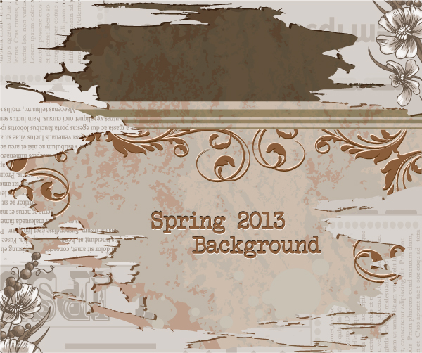 Vintage Spring floral background 37 vector