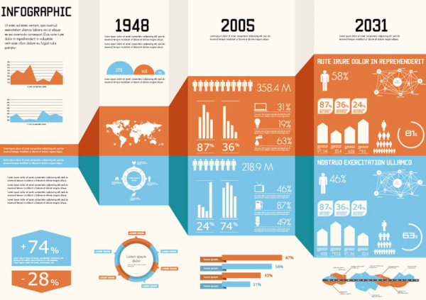 Year infographics elements vector 01