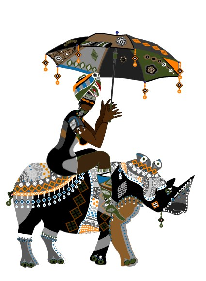 Set of African girl design vector 02