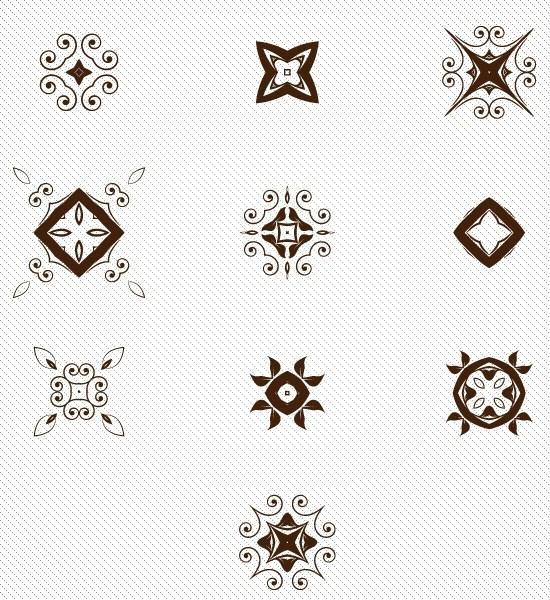 Set of decorative Pattern elements vector 02