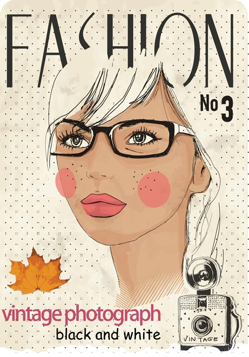 Vector Fashion girls design elements 04