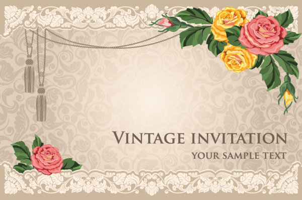 Vintage Invitation Cards Background Vector 01 For Free