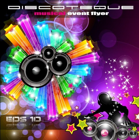 Multicolor of Disco Party Flyer design vector 04