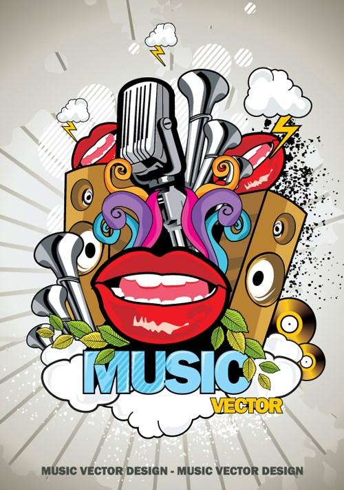 Creative music style design elements vector 01
