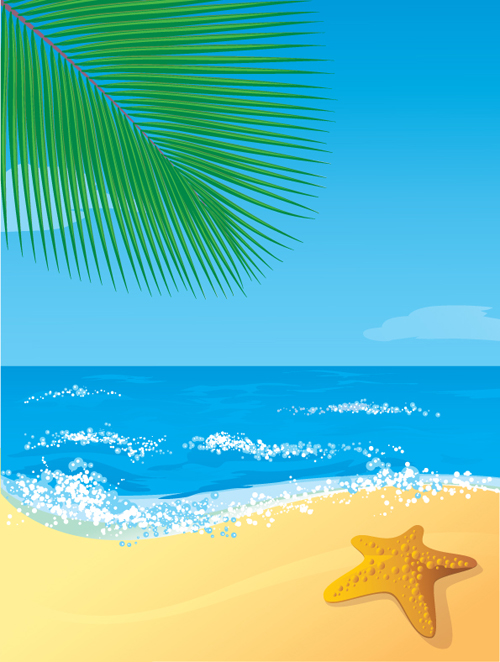 Sunny beach design vector background 06