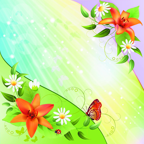 Spring Flower With Green Background Vector 02 Free Download: Vector Of Color Spring Flower Backgrounds 03