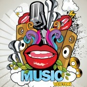 Creative music style design elements vector 01