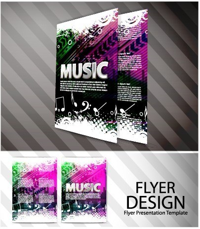 Elements of Abstract Flyer Music vector set 03