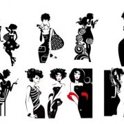 Fashion beauty elements vector Silhouettes