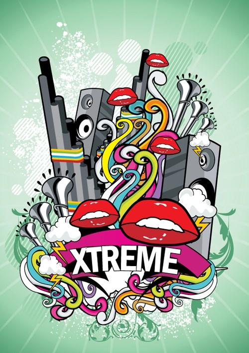Creative music style design elements vector 03