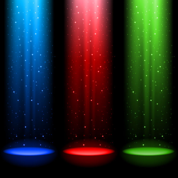 rainbow stage spotlights vector background 05
