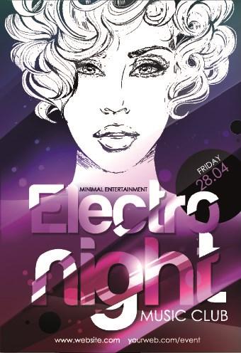 Music club poster design vector 01