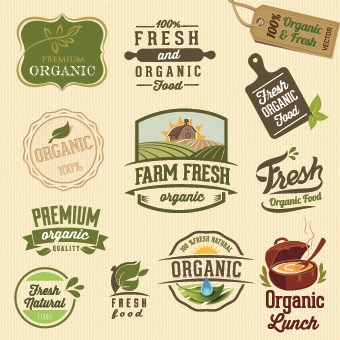 Organic Food Logos And Labels Vector 03 Free Download