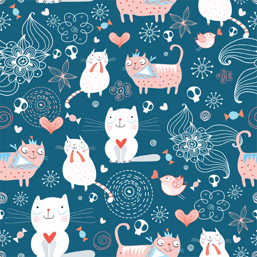 Funny Cat Pattern Vector 01 Free Download