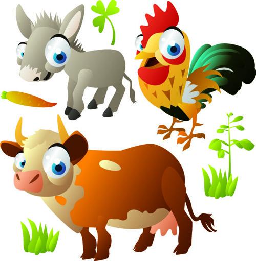 vivid cartoon animals vector 05
