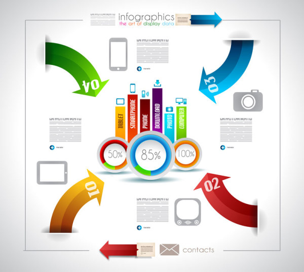 Infographics with data design vector 04 | Free download