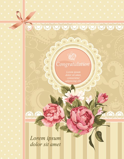 Vintage Flower Congratulation Cards Vector 04 | Free Download