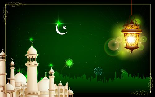 mosque night backgrounds vector 03
