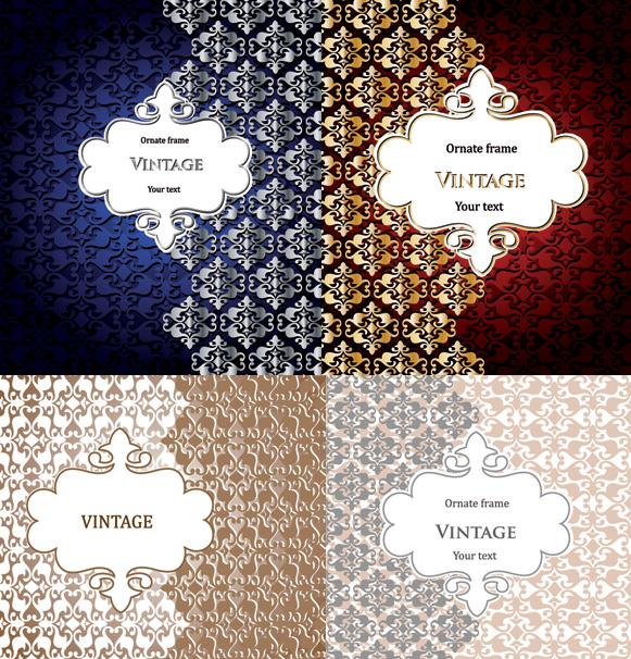 Ornate floral frame Background vector art