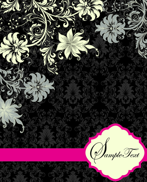 Retro dark Floral backgrounds vector 05