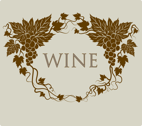 Retro style grape wine background vector 01