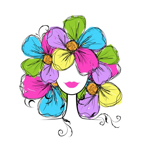 Hand drawn Girls with Flowers vector 03