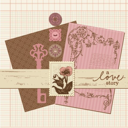Postcard love with Stamp vector 04