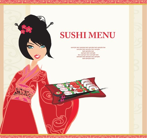 Set of Susi girl design vector 03