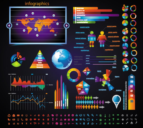 Business color Data Statements vector 03