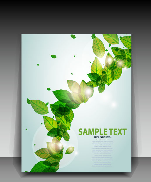 Green leave flyer and cover brochure background vector 03