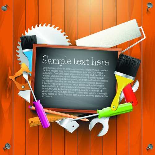 Message Board and Carpentry Tools Backgrounds 04 vector