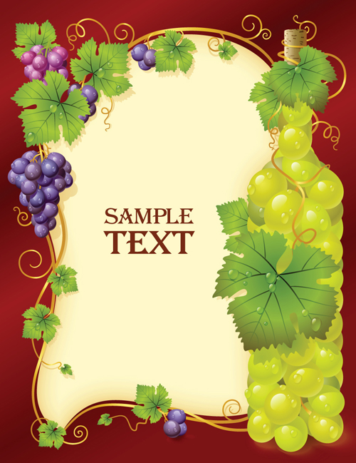 Vivid grapes elements vector background art 03