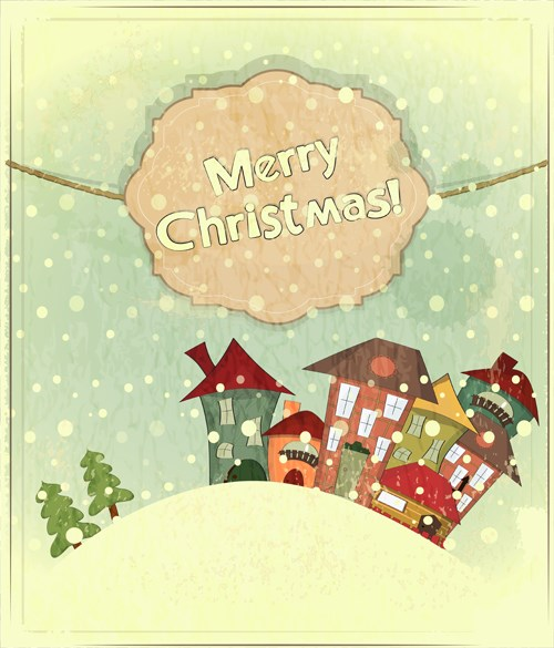 Set of Vintage Merry Christmas cards vector graphics 01