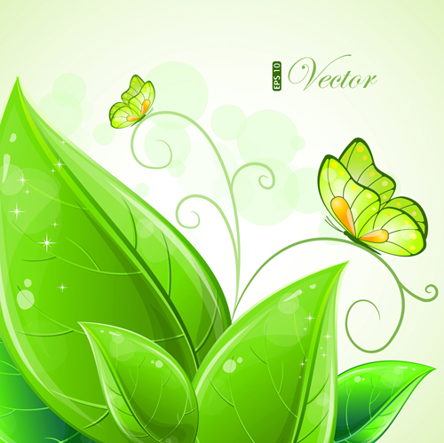 Shiny Green Leaves Background Design Vector 01 Free Download
