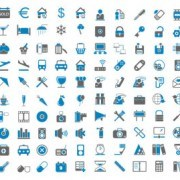 Blue Ash simple icons vector