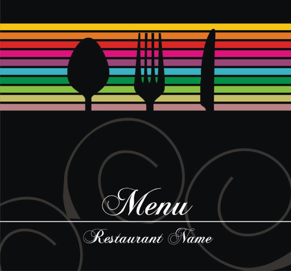 restaurant menu cover background vector 03
