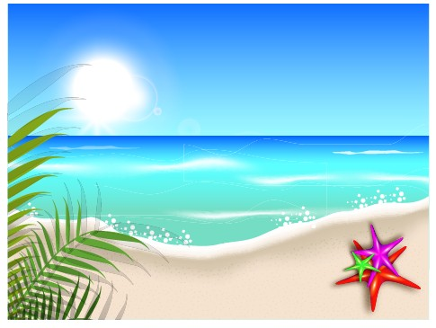 Beautiful Summer Beach Background 04 Vector Free Download