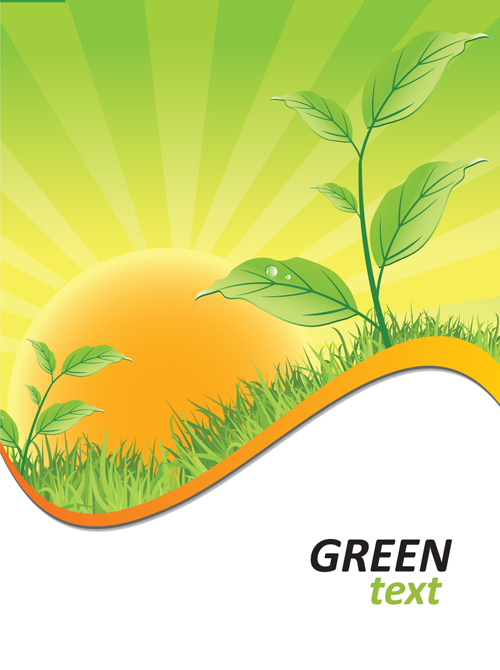 Ecologic With Green Design Background Vector 01 Free