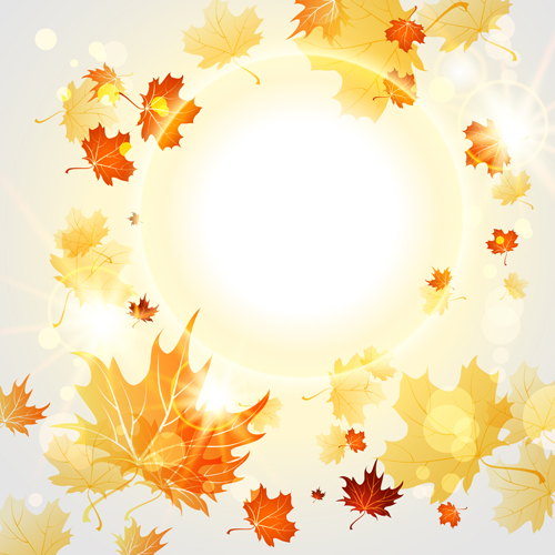 bright autumn leaves vector backgrounds 09