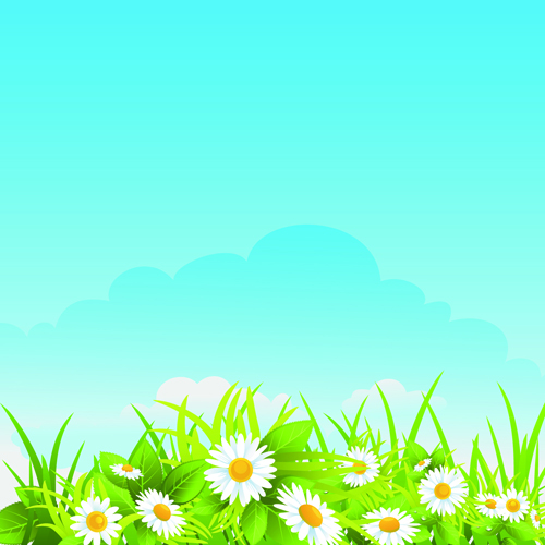 summer blue sky backgrounds vector 05