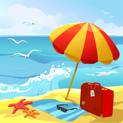 Summer Beach Travel Backgrounds Vector 04 For Free ...