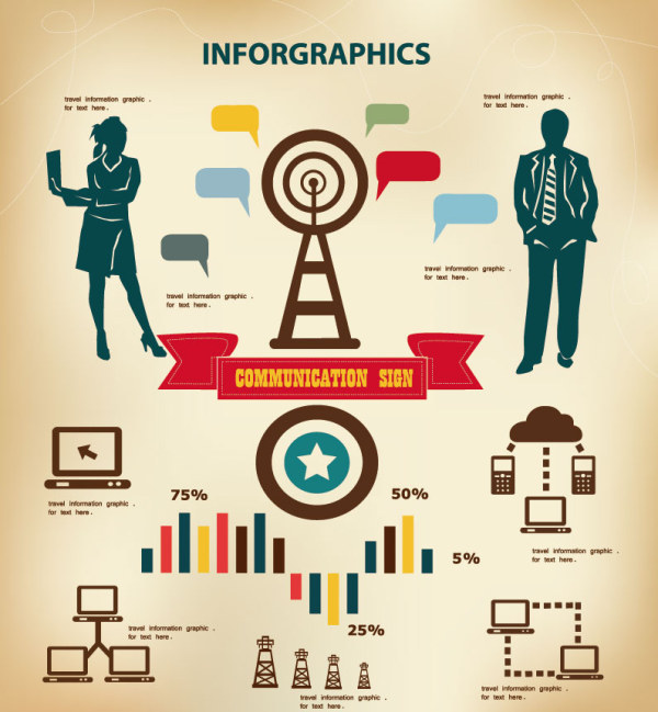 Business People with infographics design vector 03